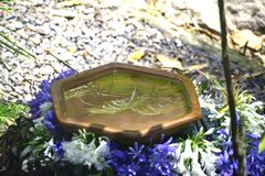 Leaves reflecting off birdbath. A birdbath is really pretty with leaves reflecting on the water and flowers around the edge Stock Images