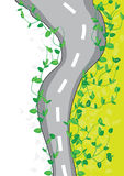 Leaves Road Top View_eps. Illustration of road born leaves, ecology idea, top view, white area is your sample text Royalty Free Stock Photo