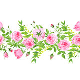 Leaves and roses seamless vector horizontal banner Stock Images