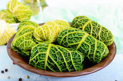 Leaves of Savoy cabbage stuffed with minced meat and rice Stock Photos