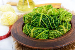 Leaves of Savoy cabbage stuffed with minced meat and rice in a clay bowl Royalty Free Stock Photography