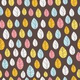 Leaves Seamless Background on dark. Hand drawn  illustrati Royalty Free Stock Photography