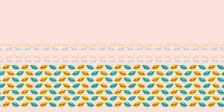 Fall leaves seamless border pattern. Stylized retro edging. Pretty modern feminine nature fashion band. Trendy. Leaves seamless border pattern. Stylized retro vector illustration