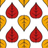 Leaves. Seamless pattern with red and yellow leaves Stock Photos