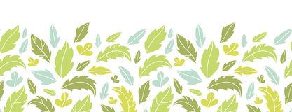 Leaves silhouettes horizontal seamless pattern Stock Photo
