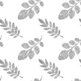 Leaves of silver glitter on white background, seamless pattern Royalty Free Stock Photo