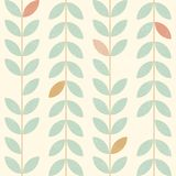 Leaves simple vertical pattern, seamless vector background in retro scandinavian style. Worn out texture. royalty free illustration