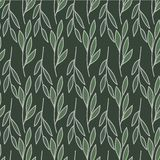 Horizontal and vertical leaves stems print seamless pattern vector illustration