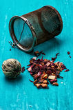 Leaves of the tea brewing Stock Images