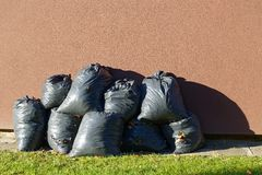 Leaves trash bag Royalty Free Stock Photo