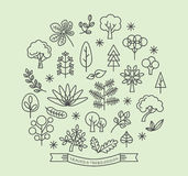 Leaves and Trees icons outline style vector Royalty Free Stock Photography