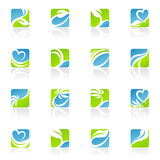 Leaves. Vector logo template set. Royalty Free Stock Photos