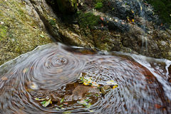 Leaves and water. Long exposure image of water and autumn leaves Stock Photos