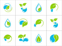Leaves and water icons Royalty Free Stock Photo