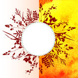 Leaves on watercolor background Stock Image