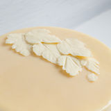 Leaves of white white chocolate on the cake Stock Images