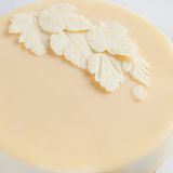Leaves of white white chocolate on the cake stock image
