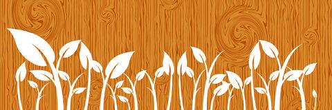 Leaves on wood Stock Image