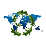 Leaves and world map Stock Image