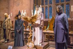 Dining hall of Hogwarts. Decorations for the Harry Potter film in the Warner Brothers Studio stock photos