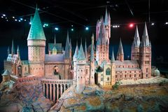 London, UK.  Hogwarts School of Witchcraft and Wizardry, model against of black background. Leavesden, London, UK - 1 March 2016: Hogwarts School of Witchcraft Royalty Free Stock Photo