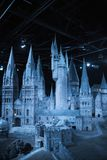 London, UK.  Hogwarts School of Witchcraft and Wizardry, model against of black background. Leavesden, London, UK - 1 March 2016: Hogwarts School of Witchcraft Royalty Free Stock Photography