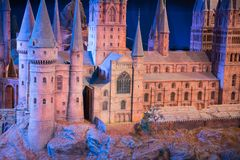 Hogwarts School of Witchcraft and Wizardry, model against of black background. Leavesden, London, UK - 1 March 2016: Hogwarts School of Witchcraft and Wizardry Stock Image