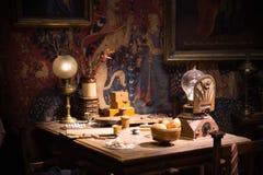 Interior of student`s bedroom. Harry Potter`s bed. Decoration Warner Brothers Studio. UK. Leavesden, London, UK - 1 March 2016: Interior of student`s bedroom stock photos