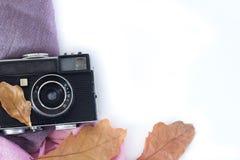 Leaveson velho da câmera e do outono um fundo branco imagens de stock royalty free