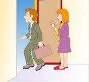 Leavin del hombre para el trabajo