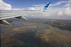 Leaving Bali, view of the island from the airplane Stock Photo