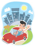 Leaving the city. Cartoon man driving a car leaving the city vector illustration