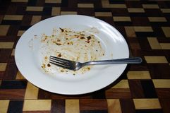Leaving the empty plate after taken meal stock photos