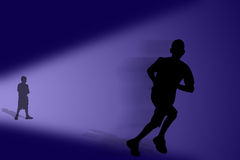 Leaving fast. A runner royalty free illustration