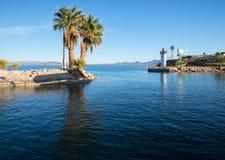 Leaving the harbor at Havasu Landing. Harbor entrance at Havasu Landing reservation casino resort stock photo