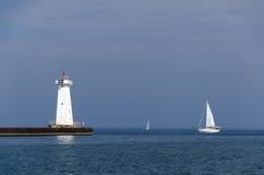Leaving harbor, Lake Ontario, NY Royalty Free Stock Photography