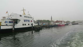 Leaving the harbor of Schaprode with a ferry. Schaprode, Mecklenburg-Vorpommern/ GERMANY October 19 2016: leaving the harbor of Schaprode with a ferry. Passing stock video