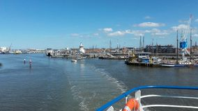 Leaving the harbour of Harlingen, Holland Royalty Free Stock Photo