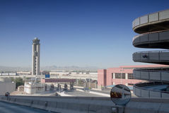 Leaving Las Vegas. Parking structure and control tower of McCarran International Airport in Las Vegas, Nevada as seen from inside the parking structure Stock Images