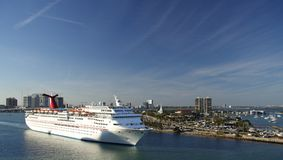 Leaving Miami. A cruiseship leaving the port of Miami Royalty Free Stock Images