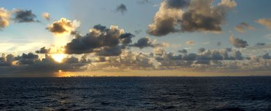 Leaving Miami. The panoramic view of dramatic sunset over Miami and Fort Lauderdale, Florida stock photography