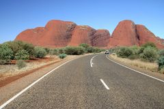 Leaving The Mounts Olga Kata Tjuta Stock Image