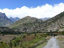Leaving Ngawal village, Nepal Stock Photo