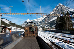 Leaving open sided car shuttle train between Kandersteg and Gopp Stock Images