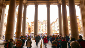 Leaving the Pantheon with its famous columns in the historic district of Rome stock photo