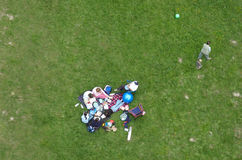 Leaving the picnic. Overhead shot of a family group Stock Image