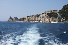 Leaving Portovenere, Cinque Terre Stock Photo