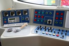Before leaving the station. Fragment of modern train's desktop Stock Images