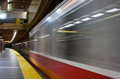 Leaving train. Redline train departing from the subway station in boston massachusetts Royalty Free Stock Photography