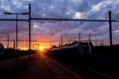 Train is hunting sun stock photography